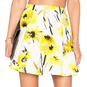 Alice + Olivia Yellow Floral Lampshade Skirt